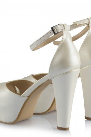Women's Ankle Strap Off-White Bridal Heeled Shoes