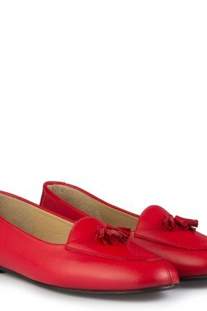 Women's Fringe Red Leather Babette