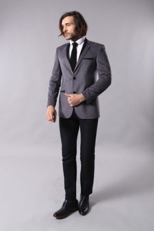Men's Pocket Grey Velvet Jacket