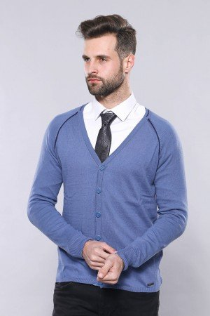 Men's Blue Cotton Cardigan