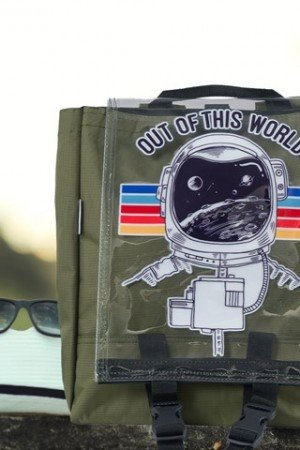 Unisex Out Of This World Print Transparent Flap Khaki Backpack